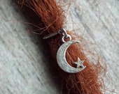 Silver Tone Moon and Star Dreadlock Accessory