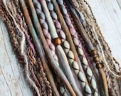 10 Custom Clip In or Braid In Dreadlock Extensions Color Mix: Mountain Peak LE Boho Tie-Dye Wool Synthetic Dreads Hair Wraps and Beads