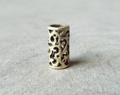 Antiqued Brass Filigree Cut-out Dread Bead