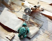 Silver Tone Turquoise Turtle Dreadlock Accessory