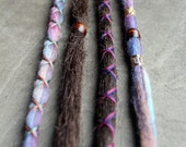 4 Custom Clip In or Braid In Dreadlock Extensions Standard Synthetic Hair and Tie Dye Wool Boho Dread Hair Wraps and Beads