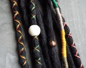 10 Custom Clip In or Braid In Dreadlock Extensions Standard Synthetic Hair Boho Dreads Hair Wraps & Beads (Black)