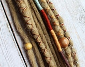"""10 pc 16"""" (READY to SHIP) Clip-In or Braid in Blonde Mix Synthetic Hair Dreads Wrapped & Beaded Bohemian Hippie Dreadlocks"""