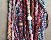 10 Custom Clip In or Braid In Dreadlock Extensions Standard Synthetic Hair  and Tie Dye Wool Boho Dreads  Hair Wraps & Beads