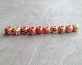 Small Patterned Wood Dread Bead