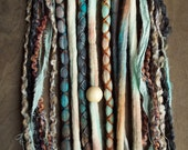 10 Custom Clip In or Braid In Dreadlock Extensions Color Mix: Mixed Native & Sand Boho Tie-Dye Wool Synthetic Dreads Hair Wraps and Beads