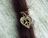 Antiqued Brass Peace Heart Dreadlock Accessory