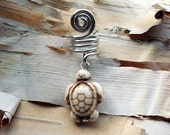 Silver Tone White Bone Colored Turtle Dreadlock Accessory
