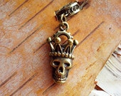 Antiqued Brass King Skull Dreadlock Accessory