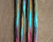 4 Custom Clip In or Braid In Dreadlock Extensions Color Mix: Hippie  Boho Tie Dye Wool Synthetic Dreads