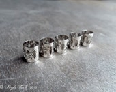 5 Antique Silver Tone Dreadlock Hair Cuffs