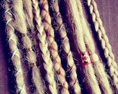 10 Custom Clip In or Braid In Dreadlock Extensions Standard Synthetic Hair Boho Dreads Hair Wraps & Beads (Cool Blonde 22)