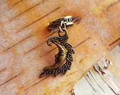 Antiqued Brass Crescent Moon Dreadlock Accessory