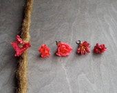 Antiqued Brass Shades of Red Flower Dreadlock Accessory