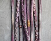 10 Custom Clip In or Braid In Dreadlock Extensions Color Mix: Bark Boho Tie Dye Wool Synthetic Dreads Hair Wraps and Beads