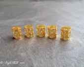 5 Gold Tone Dreadlock Hair Cuffs
