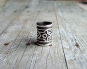 Silver Tone Star Pattern Dreadlock Bead