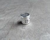 Silver Tone Star Textured Dreadlock Bead