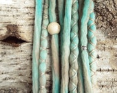 10 Custom Clip In or Braid In Dreadlock Extensions Color Mix: Seafoam Boho Tie Dye Wool Synthetic Dreads Hair Wraps and Beads