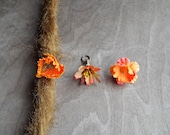 Shades of Orange Flower Dangle Charm Bead Antiqued Brass  Dreadlock Accessory Extension Accessories Dread Boho Bohemian Hippie