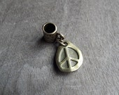 Antiqued Brass Peace Pendant Dreadlock Accessory