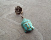 Antiques Brass Turquoise Buddha Head Charm Bead Dreadlock Accessory
