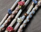 """5 Tie-Dye 14-16"""" (READY to SHIP) Flower Maiden Clip-In Wool Dreads Wrapped & Beaded Bohemian Hippie Dreadlocks"""