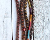 "5 pc 12"" (READY to SHIP) Clip-In or Braid in Brunette Synthetic Hair Dreads Wrapped & Beaded Bohemian Hippie Dreadlocks"