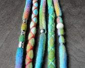"5 Tie-Dye 14-16"" (READY to SHIP) Candy Coated Clip-In Wool Dreads Wrapped & Beaded Bohemian Hippie Dreadlocks"
