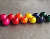 Rainbow Wood Dread Bead Pink, Red, Orange, Yellow, Blue, Green
