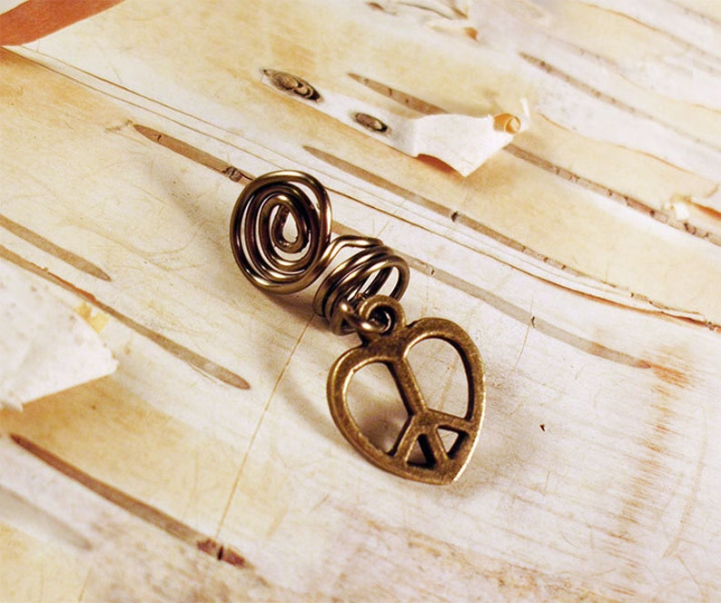 Antiques Brass Peace Sign Heart Dreadlock Accessory image 0