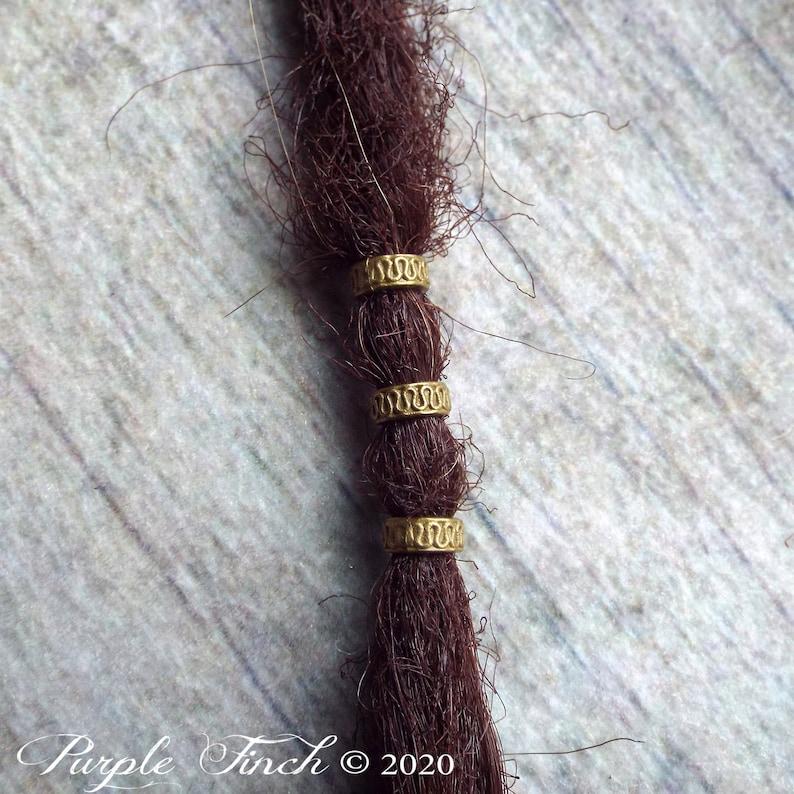 5 Antiqued Brass Patterned Aztec Dreadlock Beads image 0
