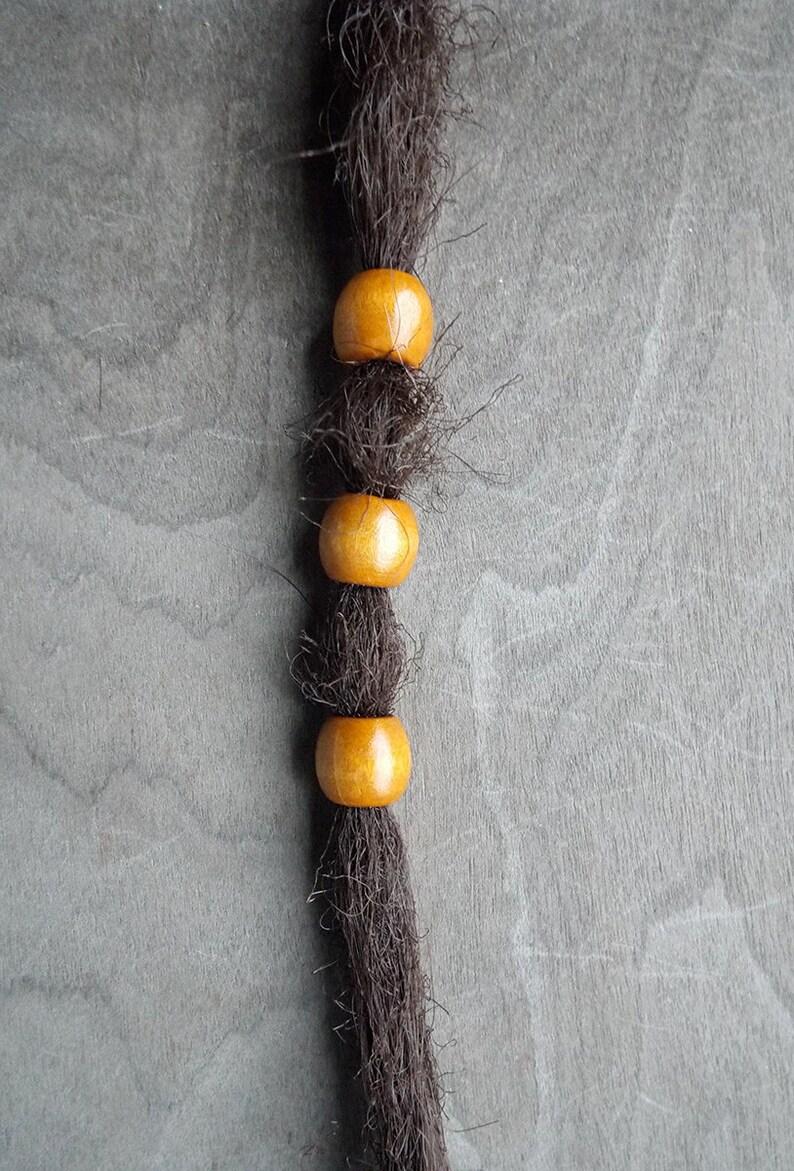 3 Small Honey Wood Dread Beads image 0