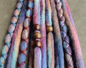 10 Custom Clip In or Braid In Dreadlock Extensions Color Mix: Jewel Tone Boho Tie Dye Wool Synthetic Dreads Hair Wraps and Beads