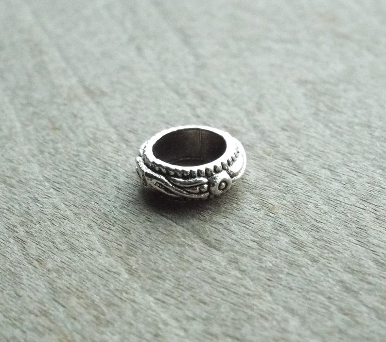 Silver Tone Small Floral Pattern Dreadlock Bead  image 0