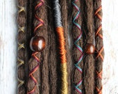 10 Custom Clip In or Braid In Dreadlock Extensions Standard Synthetic Hair Boho Dreads Hair Wraps & Beads