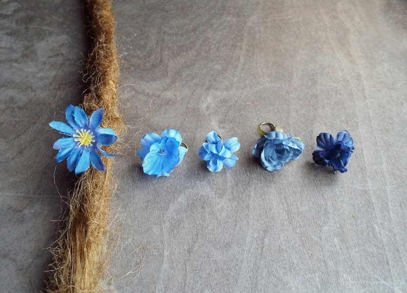 Antiqued Brass Shades of Blue Flower Dreadlock Accessory  image 0