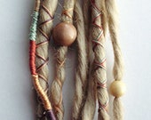 10 Custom Clip In or Braid In Dreadlock Extensions Standard Synthetic Hair Boho Dreads Hair Wraps & Beads (Blonde 613)