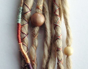 10 Custom Standard *Clip-in or Braid-in Synthetic Dreadlock Extensions  Boho Dreads Hair Wraps & Beads (Blonde 613)