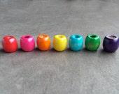 Rainbow Wood Dread Bead Pink, Red, Orange, Yellow, Blue, Green