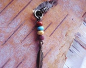 Antiqued Brass Tribal Feather Dreadlock Accessory