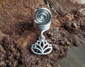 Silver Tone Lotus Dread Charm Dreadlock Accessory