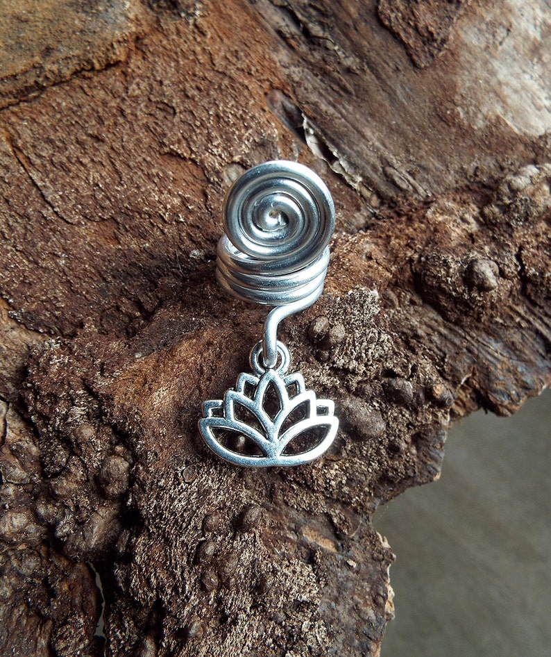 Silver Tone Lotus Dread Charm Dreadlock Accessory image 0