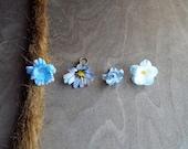 Antiqued Brass Shades of Lighter Blues Flower Dreadlock Accessory