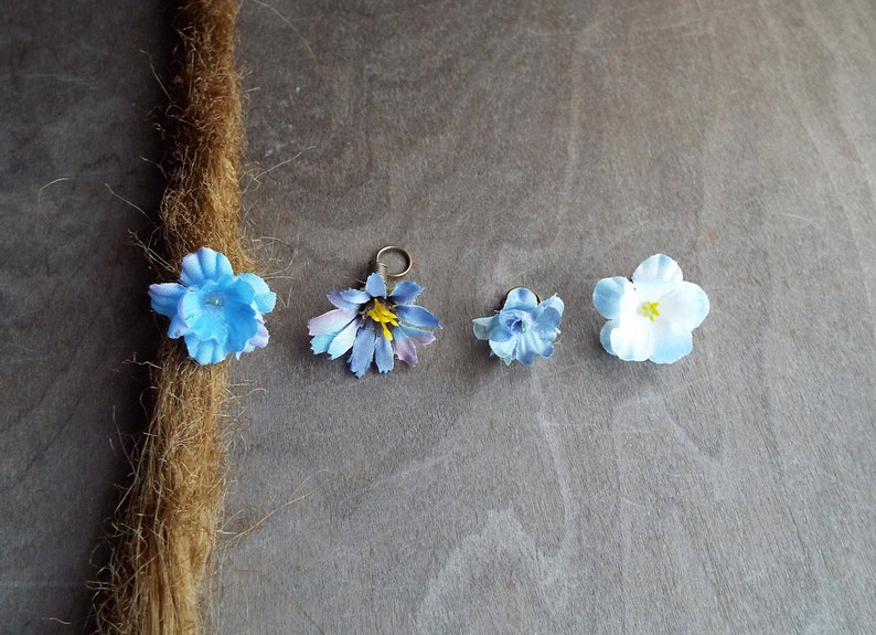 Antiqued Brass Shades of Lighter Blues Flower Dreadlock image 0