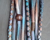 10 Custom Clip In or Braid In Dreadlock Extensions Color Mix: Native Boho Tie Dye Wool Synthetic Dreads Hair Wraps and Beads
