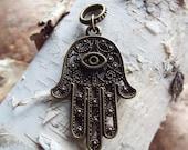 Antiqued Brass Large Hamsa Palm Dreadlock Accessory