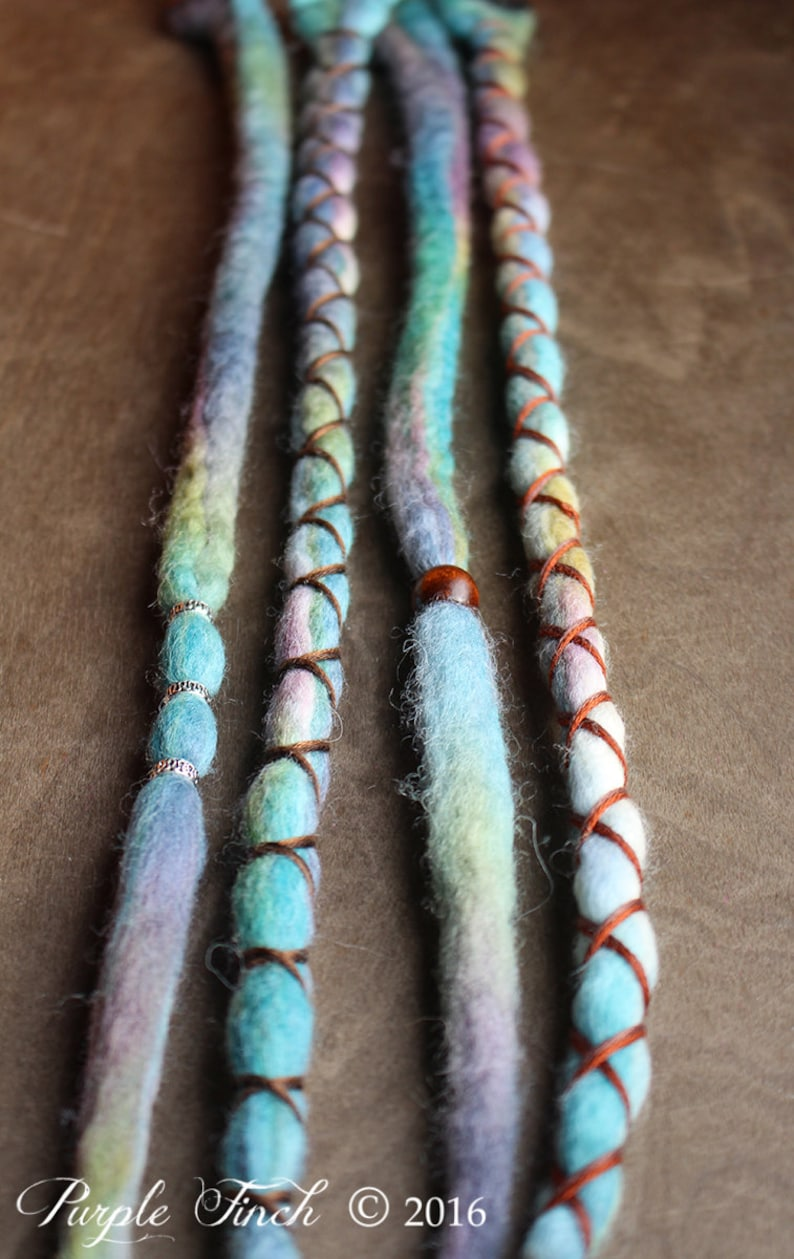 4 Tie-Dye 14-16 READY to SHIP Clip-In Wool Dreads Wrapped & image 0