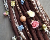 10 Custom Clip In or Braid In Dreadlock Extensions Color Mix: Brown Flower Maiden Boho Tie Dye Wool Synthetic Dreads Hair Wraps and Beads