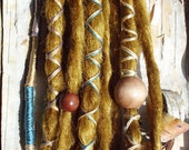 10 Custom Clip In or Braid In Dreadlock Extensions Standard Synthetic Hair Boho Dreads Hair Wraps & Beads (Gold)